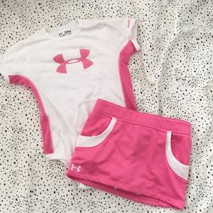 Under armour pink and white athletic outfit